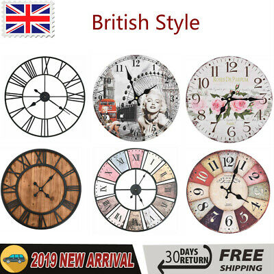 Wall Clock Vintage Quartz Movement British Style Antique Large Dial Timer Decor