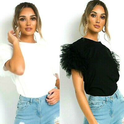 Womens Ladies Tulle Scoop Neck Top Frill Mesh puff Sleeve Party T-Shirt Tops
