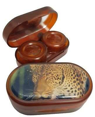 Endangered Species Mirror Case Contact Lens Soaking Storage Case - Leopard