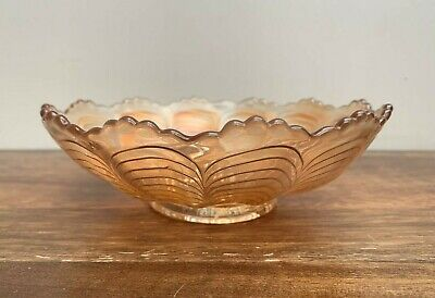 Small Carnival Glass Candy Bowl, Orange Iridescent Vintage Glass