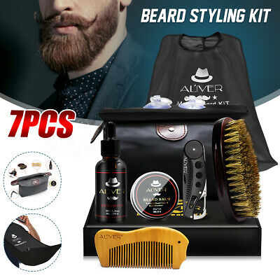 7Pcs/set Men Beard Care Styling Clean Kits Brush Comb Grooming Oil Balm Gift OZ