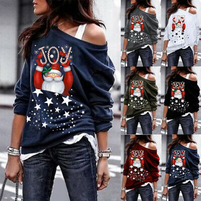Women Cold Shoulder Christmas Tops Ladies Casual Pullover Jumper Sweatshirt Size
