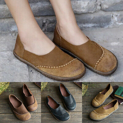 Women Flat Pumps Ladies Retro Leather Casual Slip On Comfy Loafers Boots Shoes