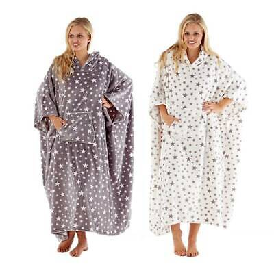 Ladies Stars Print Plush Fleece Long Hooded Poncho Robe One Size Fits All