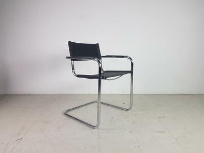 Black Leather And Chrome Cantilever Marcel Breuer Midcentury #2808