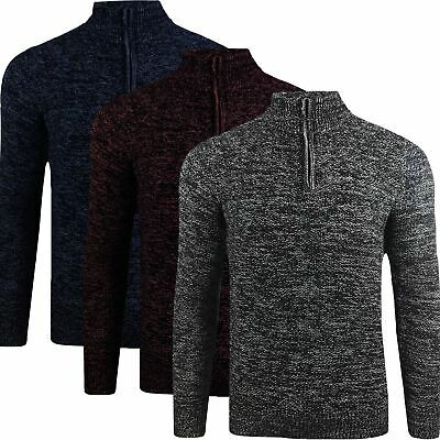 Mens 100% Cotton Half Zip Funnel Neck Pullover Jumper Sweater Long Sleeve  M-3XL