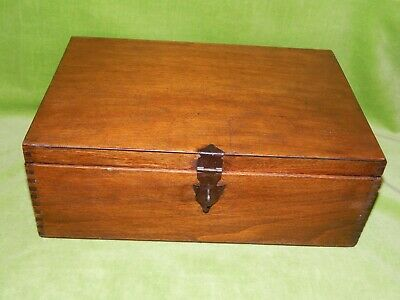 Vintage Large Dark Wooden Box, Small Chest with Tenon Joints 32 x 22 x 12cm 650g