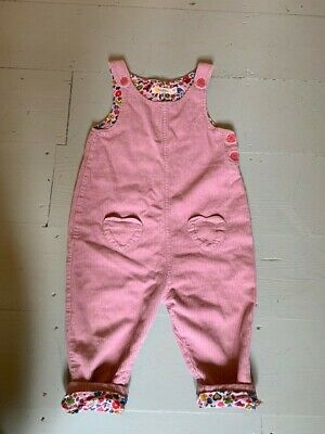 Mini Boden 2-3 years pink corduroy dungarees heart pockets so cute