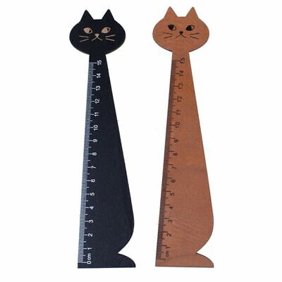 2 pcs 15 cm Wood Straight Ruler Beautiful Cat Form Ruler for Kids School (B L8H1