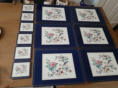 Ainsley Pembroke Placemats And Coasters Good Cond Birds Flowers Made In England