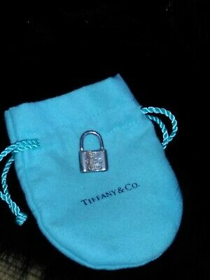 Tiffany & Co Sterling Silver Pad Lock Pendant and bag beautiful signed