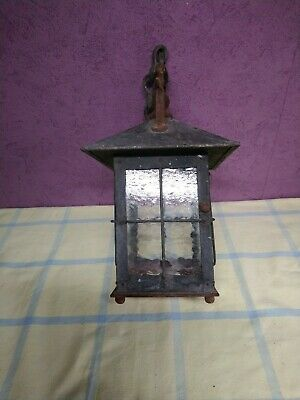 vintage wrought  Iron Clear Glass square Pendant Lantern on chain porch