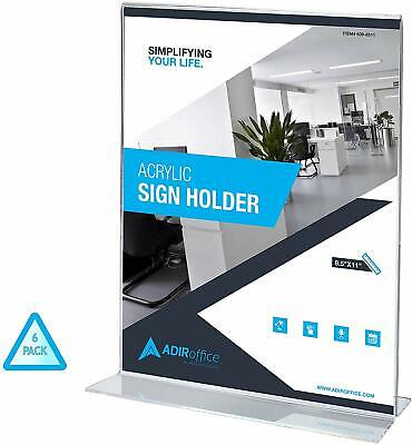 AdirOffice 8.5 in x 11 in Table Card T-Shaped Base Acrylic Sign Holder 6 Pack
