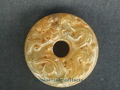Collect Old China Jade Hand Carving Propitious Beast Dragon Statue Disc Pendant