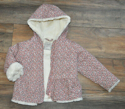 NEXT Girls Fur Lined Winter Jacket Hood 2-3 Years Pink Cotton Floral Padded