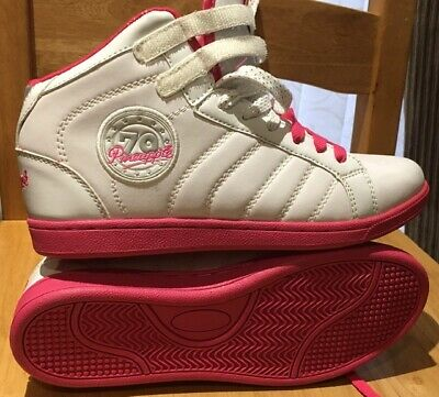 Pineapple Junior Girls Hustle Trainers - Size 5 White / Pink