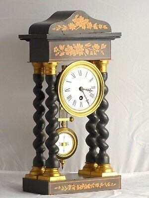 "Antique Rare 16"" French Empire Style Column Portico Clock 1880 Marquetry Bronze"