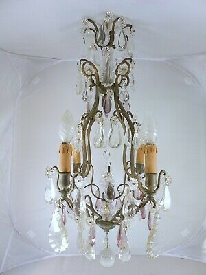 A small antique French Purple Crystal Chandelier - 4 lights - Late 19TH