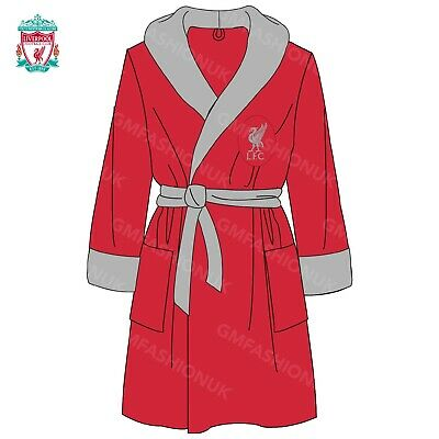 Mens Adults Liverpool Fc Official Gift Football Club Fleece Dressing Gown Robe