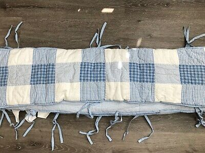 Pottery Barn Kids Blue & White Patchwork Crib Bumper Pad