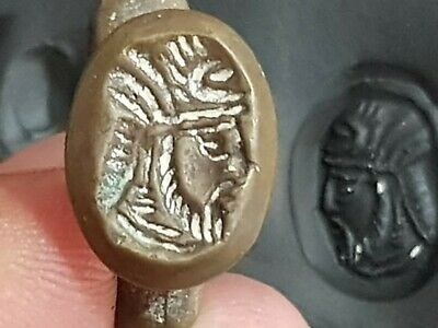 Rare Late Medieval Bronze Ring - Seal Head Of King Sasanian 9.0 Gr.18 Mm (Inner)