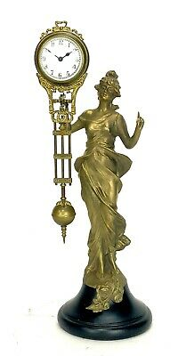 German Style Junghans Brass Diana Lady Figure 8 Day Swinging Swinger Clock