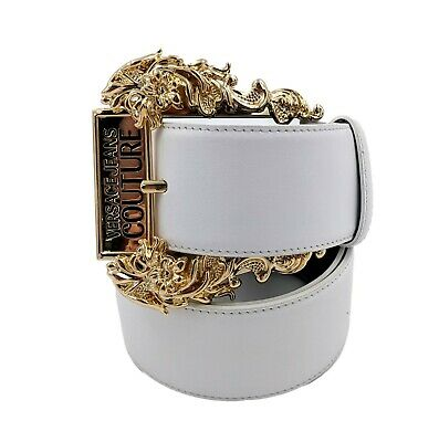 NWT VERSACE JEANS COUTURE western style belt WHITE AND GOLD D8HUBF0271222