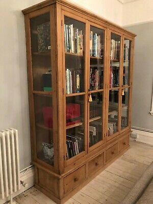 Antique Gorgeous Grand Pine Glazed Book Case or Display Case