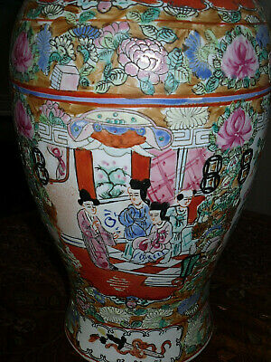 Large antique Chinese VASE  Famille Rose HAND PAINTED BIRDS FIGURES COLLECTABLE