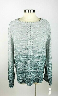 Style&co. Women's XLarge Green Ombre Wide Long Sleeve Pullover Knit Sweater NWT
