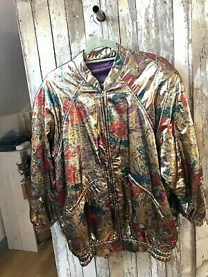 Vintage 80s Lamé Bomber Gold Drop Shoulder Size M/L