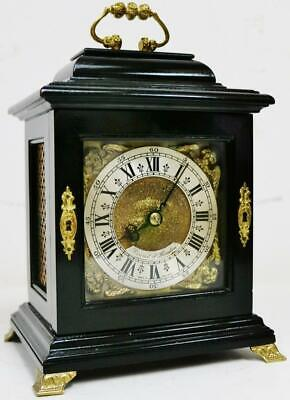 Rare Antique English 8 Day Ebony Miniature Bracket Clock Designed Mantel Clock