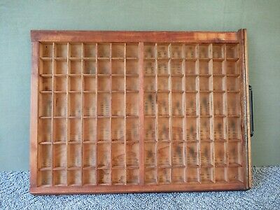 Antique Type Tray Primitive Country Printers' Drawer Shadow Box 98 Sections Hndl