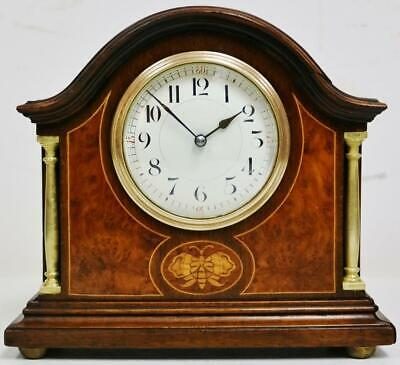 Antique French 8 Day Inlaid Mahogany & Brass Mantel Clock Platform Escapement