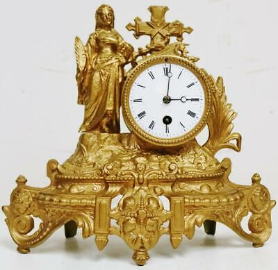 Antique 19thC French 8 Day Gilt Metal Lady Figurine Timepiece Mantel Clock