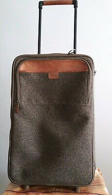 Vintage Hartmann Tweed & Leather Rolling Garment Wheeled Travel Bag Luggage USA