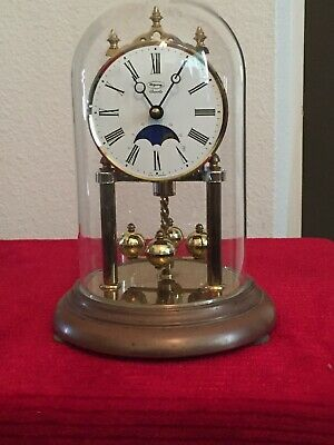 Ridgeway Quartz Glass Dome Mantle Desk Clock Made in Germany Tested and Working