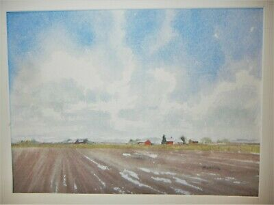 FINE ART WATERCOLOR PAINTING title ALBERTA BLUES by J. HANKINS CANADIAN ARTIST