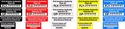 Drone stickers Operator ID/Flyer ID stickers + 100% FREE, CAA Regulation 2 sizes
