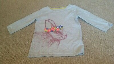 Mini boden girls grey Bunny Design t Shirt Age 6-7 3/4 length sleeve
