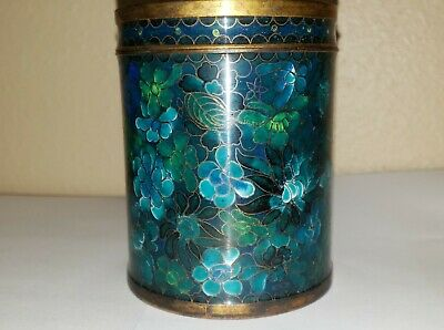 Antique Chinese Cloisonne round covered jar with lid