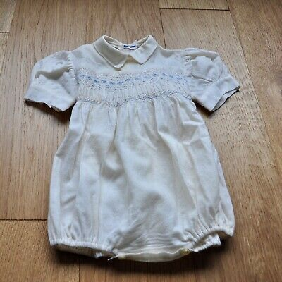 Vintage French Baby Romper, Smocked pure wool romper, 0-3 months 1960s baby outf