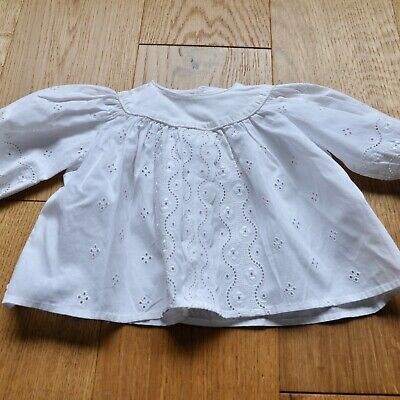 Vintage French White Cotton Baby Blouse, Embroidered baby shirt, size 0-3months
