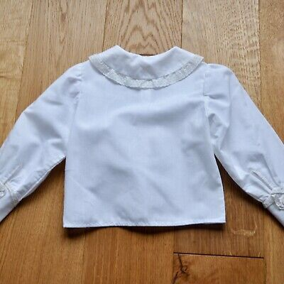 Vintage French White Baby Blouse, Collared Blouse, Baby Smock Shirt