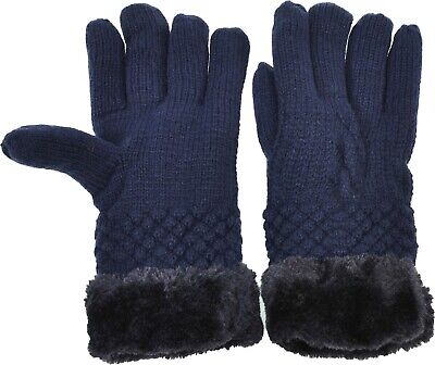 Women's Knitted Gloves Solid Cable Faux Fur Cuff/Lined Cozy Winter Warmth Navy