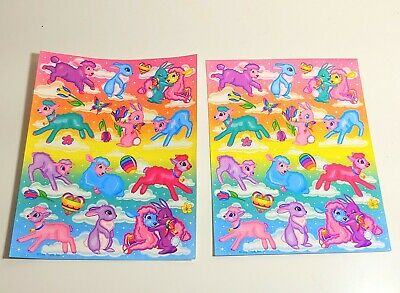 Vintage Lisa Frank Easter Sticker Sheets Lambs Bunnies Perforated 1980s stickers