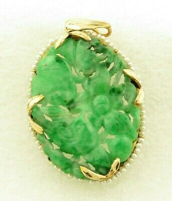 "Antique 14 kt Gold Chinese Hand Carved  ""A"" Jadeite Natural Seed Pearls Pendant"