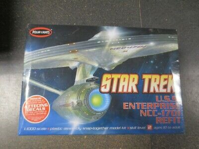 Star Trek USS ENTERPRISE NCC-1701 REFIT Plastic Model Kit Polar Lights decals
