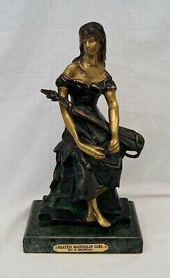 "Antique Bronze Statue ""Seated Mandolin Girl"" Auguste Hippolyte Moreau Signed"