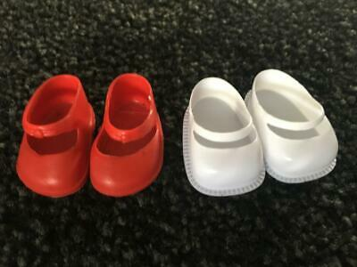 Vintage Doll Shoes - Red Shoes / White Shoes -  Great Price - Buy Now